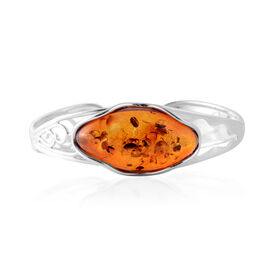 Super Auction - Baltic Amber Bangle (Size 7.5) in Sterling Silver, Silver wt 16.80 Gms
