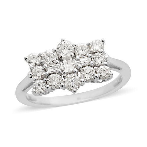 RHAPSODY 950 Platinum IGI Certified Diamond (Rnd and Bgt) (VS/E-F) Boat Ring 1.00 Ct, Platinum wt. 4