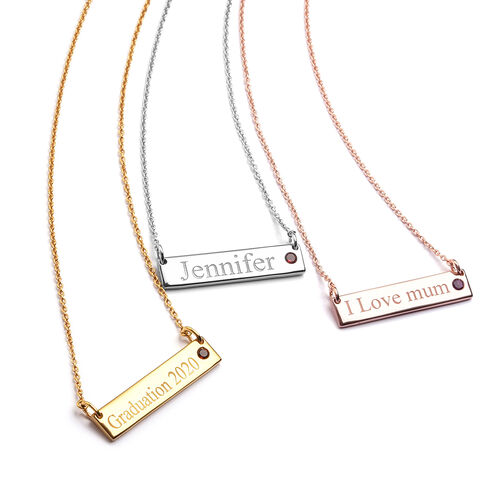 Personalise Engraved Name and Birthstone Necklace with Chain in Silver