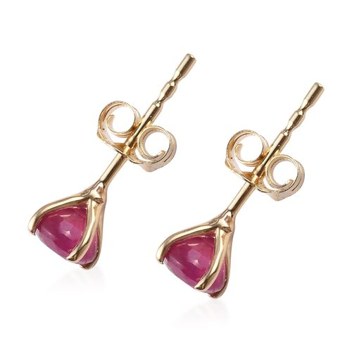 9K Yellow Gold Ruby Stud Earrings (with Push Back) 0.75 Ct