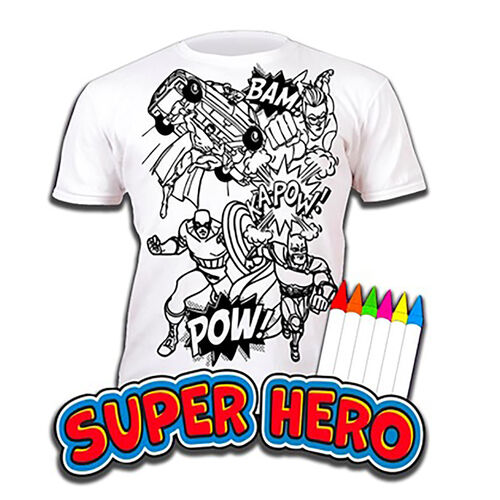 100% Cotton Super Hero Childrens T-Shirt Age 7-8 (Large) (Size 128 Cm) Estimated delivery within 5-7 working days