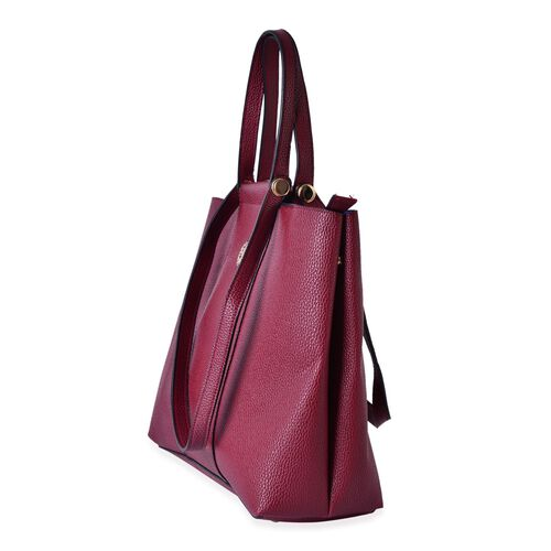 Burgundy Colour Tote Bag with Shoulder Strap (Size 33x30.5x13.5 CM)