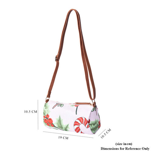 Christmas Theme Candies and Berries Print Crossbody Bag - Pink