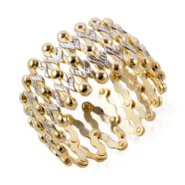 9K Yellow and White Gold Concertina Ring, Gold Wt. 8.08 Gms. Ring Size J to Z. Bangle Size Upto 9 in