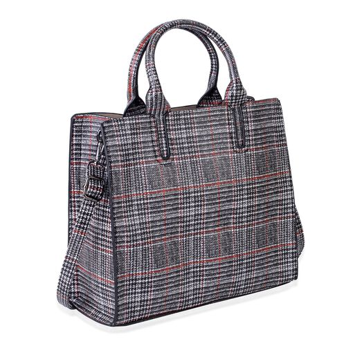 Madison Red and Black Glen Check Tote Bag with Shoulder Strap (Size 32x28x12 Cm)