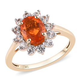 1.65 Ct Jalisco Fire Opal and Zircon Floral Halo Ring in 9K Gold 2 Grams