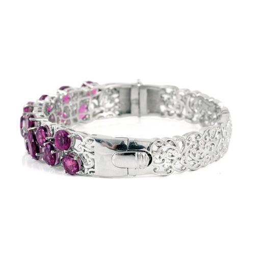 Radiant Orchid Quartz (Oct 1.25 Ct) Bangle (Size 7) in Platinum Overlay Sterling Silver 17.000 Ct.