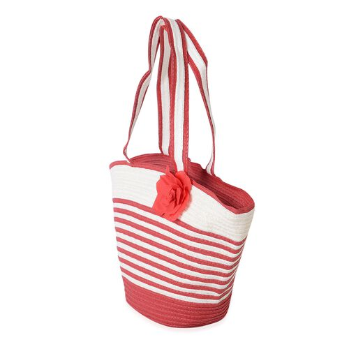 Red and White Colour Flower Adorned Stripe Pattern Tote Bag (Size 47x30x20x13 Cm) and Hat (Size 29x24 Cm)