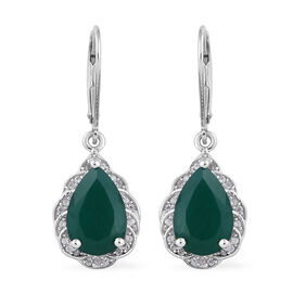 5.62 Ct Verde Onyx and Cambodian Zircon Drop Earrings in Sterling Silver 4.75 Grams With Lever Back