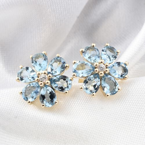 9K Yellow Gold AA Santa Maria Aquamarine (Pear), Natural Cambodian Zircon Flower Stud Earrings (with Push Back) 1.500 Ct.