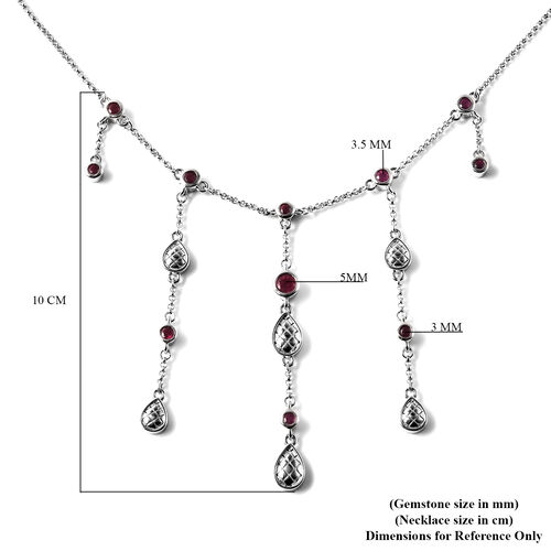 LucyQ Drop Collection - African Ruby Waterfall Necklace (Size 18) in Rhodium Overlay Sterling Silver -  Silver wt. 15.96 Gms