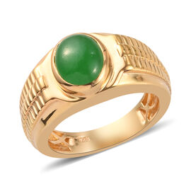 Green Jade Ring in 14K Gold Overlay Sterling Silver 2.75 Ct, Silver wt. 8.56 Gms
