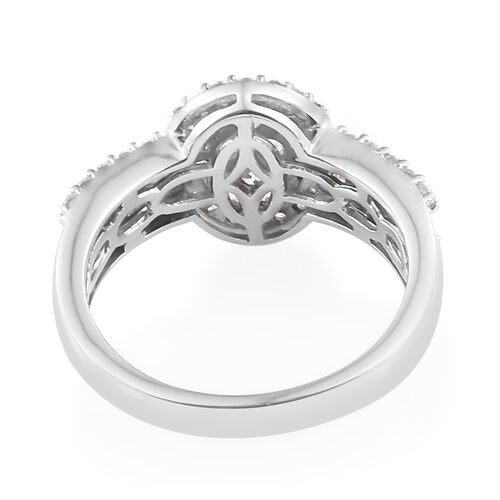 J Francis - Platinum Overlay Sterling Silver (Rnd) Ring Made with SWAROVSKI ZIRCONIA , Silver wt 5.46 Gms.