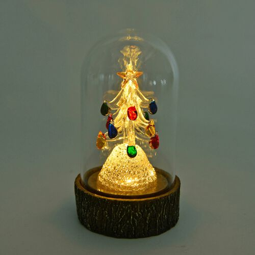 Home Decor - LED Light Multi Colour Christmas Tree with Glass Cover (Size 15X8.7X8.7 Cm)