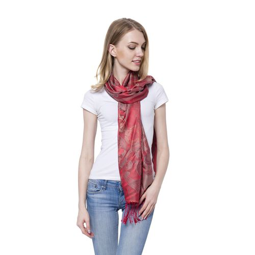 Grey Colour Blooming Rose Pattern Dark Red Colour Scarf with Tassels (Size 180x70 Cm)