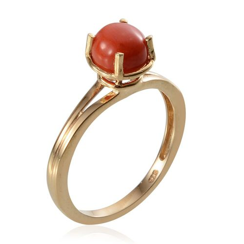 Mediterranean Coral (1.75 Ct) 14K Gold Overlay Sterling Silver Ring  1.750  Ct.