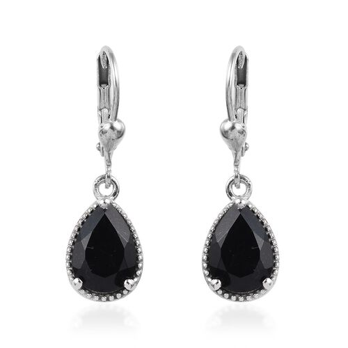 3.50 Ct Black Tourmaline Solitaire Drop Earrings in Platinum Plated Silver