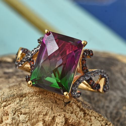 GP Water Melon  Quartz (Oct 7.48), Mozambique Garnet, Change Colour Garnet and Kanchanaburi Blue Sapphire Ring in 14K Gold Overlay Sterling Silver 8.000 Ct.