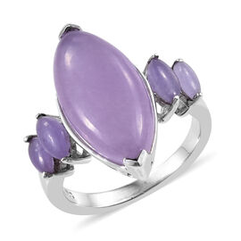 7 Carat Purple Jade 5 Stone Ring in Platinum Plated Sterling Silver