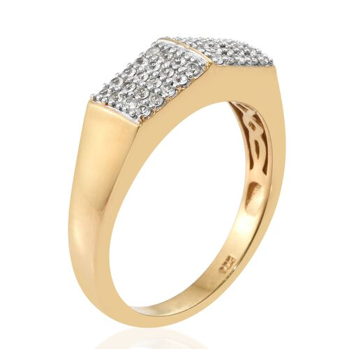 Natural Cambodian Zircon Cluster Ring in Gold Overlay Silver 0.50 Carat