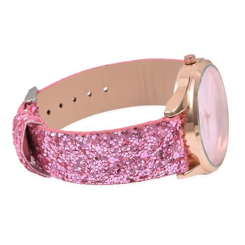 Set of 2- Pink Colour Magic Scarf with Silver Threads (Size 170x20 Cm) and STRADA Japanese Movement Water Resistant Watch with Pink Colour Sequin Strap.