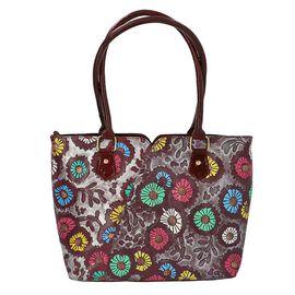 100% Genuine Leather Colourful Flowers Pattern Shoulder Bag (Size 29x10x26 Cm) - Purple