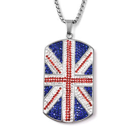 Multi Colour Austrain Crystal Pendant with Chain in Stainless Steel