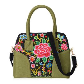 Dark Green and Multicolour Flower Embroidery Pattern Tote Bag (Size 32x10.5x25 Cm) with Detachable S
