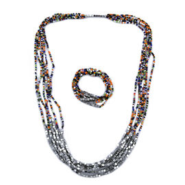 2 Piece Set - Multi and Silver Colour Beads Multi Strand Necklace (Size 15.5) and Stretchable Bracel