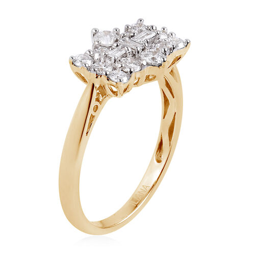 ILIANA 18K Yellow Gold IGI Certified Diamond (Rnd and Bgt) (SI/ G-H) Boat Cluster Ring 1.000 Ct.