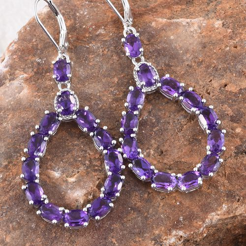Lusaka Amethyst (Ovl) Drop Lever Back Earrings in Platinum Overlay Sterling Silver 10.500 Ct. Silver wt 7.21 Gms.