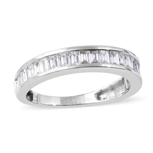 ILIANA 18K White Gold IGI Certified Diamond (Bgt) (SI/G-H) Eternity Band Ring 1.00 Ct.
