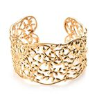 Leaf Cuff Bangle in 14K Gold Plated Silver 45.42 Grams 7.5 Inch