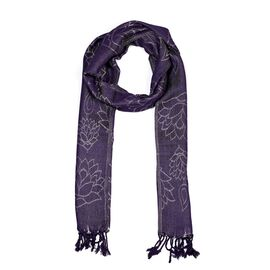 Purple Colour Metallic Floral Pattern Scarf (Size 50x180 Cm)