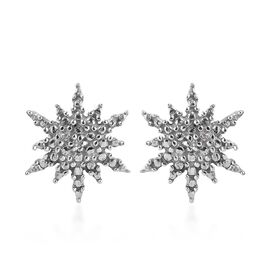 Diamond Starburst Stud Earrings with Push Back in Platinum Plated Silver