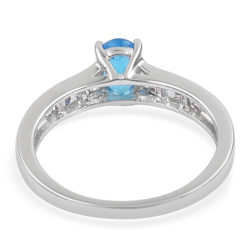 AA Very Rare Size Malgache Neon Apatite (Ovl 7x5mm), White Topaz Ring in Rhodium Plated Sterling Silver 1.250 Ct.