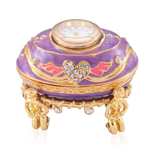 AAA White Austrian Crystal Studded Purple and Pink Enameled Egg Shape Jewellery Box with a Clock Mounted on Top in Gold Tone