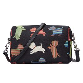 Signare Tapestry - Playful Puppy Design Crossbody Bag in Black (Size 20x13x7cm)