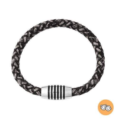 Genuine Braided Leather Enamelled Bracelet (Size 7) in Stainless Steel - Black and Grey