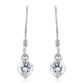 J Francis - Platinum Overlay Sterling Silver (Rnd) Hook Earrings (Two Prong Set) Made with SWAROVSKI ZIRCONIA