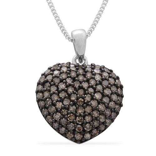 Natural Champagne Diamond (Rnd) Heart Pendant with Chain in Black Rhodium and Platinum Overlay Sterling Silver 1.000 Ct.