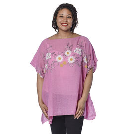 Jovie Embroidered Flower Pattern Top in Pink (Size 90x70 Cm)