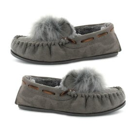 Ella Paula Supersoft Moccasin Pom Pom Slipper in Grey Colour