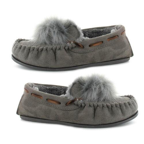Ella Paula Supersoft Moccasin Pom Pom Slipper (Size 5) - Grey