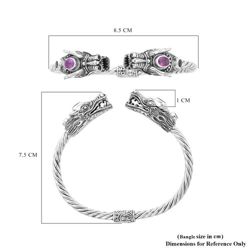 Royal Bali Collection - Pink Sapphire (Ovl 7x5mm) and Rhodolite Garnet Dragon Head Bangle (Size 7.5) in Sterling Silver, Silver wt. 32.20 Gms