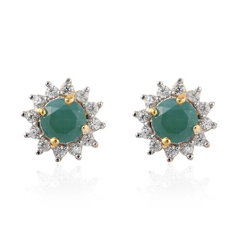 Grandidierite and Natural Cambodian Zircon Starburst Halo Stud Earrings (with Push Back) in 14K Gold
