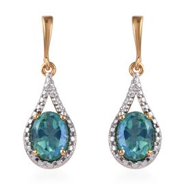 Peacock Quartz (Ovl) Earrings (with Push Back) in 14K Gold Overlay Sterling Silver 2.750 Ct.