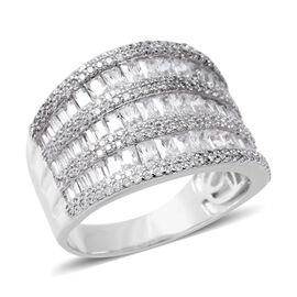 ELANZA Simulated Diamond (Bgt) Ring in Rhodium Overlay Sterling Silver, Silver wt 7.20 Gms.