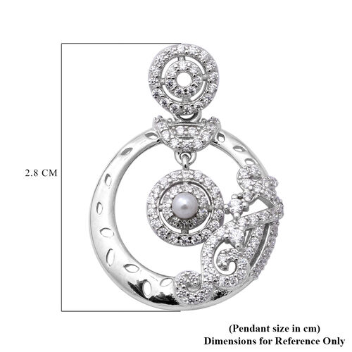ELANZA Simulated Diamond and Simulated Pearl Pendant in Sterling Silver