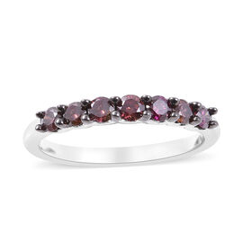 0.50 Ct Purple Diamond Seven Stone Band Ring in 9K White Gold